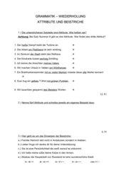 Grammatiktest - Atrribute, Beistriche, nominal gebrauchte Verben und Adjektive