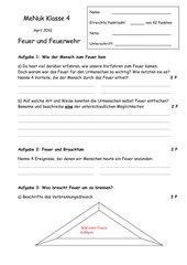 Test - Feuer und Feuerwehr (Klasse 4 + Lösung)
