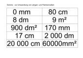 Domino zur Umwandlung von Längen- und Flächenmaßen