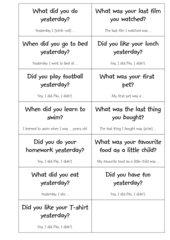 Fragekärtchentausch Simple Past