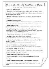 Checkliste für die Abschlussprüfung