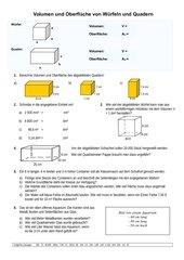 Volumen und Oberfläche von Würfeln und Quadern