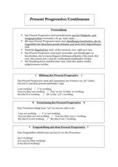 Infoblatt zum Present Progressive