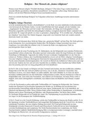 Entstehungstheorien Religiosität  - Klasse 11 und 12