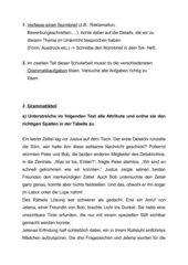 Schularbeit für eine 4. Klasse Deutsch