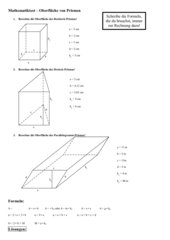 Oberfläche von Prismen, Test mit Lösungen