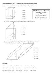 Oberfläche und Volumen Prisma, Mathematikarbeit