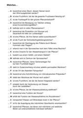 Rätsel Samenpflanzen - Welches A, B, C...?