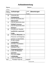 Aufsatzbewertung Ende Klasse 3 Kriterien
