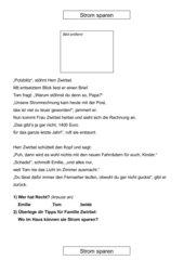 Strom sparen grundschule arbeitsblatt – Dynamische ...