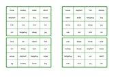 Bingo 4x4 zum Wortfeld ANIMALS