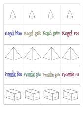 Memo-Spiel / Zuordnungsspiel  für Geometrie, Körper (Kreis, Kegel, Quader, Rechteck.....)