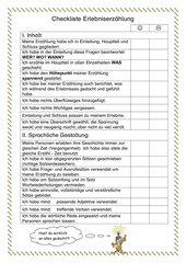 Checkliste Erlebniserzählung
