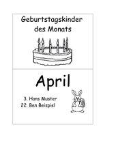 Geburtstagskalender (klein, handlich, schnell gemacht)