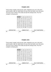 Irregular verbs - word search puzzle