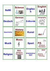 School Subjects: Memo-Spiel /  Zuordnungsspiel
