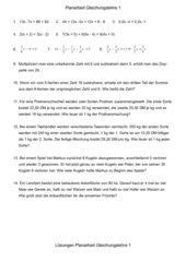 Planarbeit Gleichungslehre