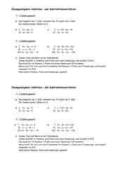 Übungsaufgaben Additions- und Subtraktionsverfahren