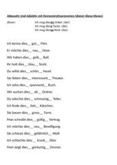 Lückensätze zu Akkusativ und Adjektiv mit Demonstrativpronomen