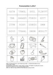 Konsonanten-, Vokal- und Leselotto