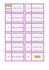 Domino - Rechnen mit ganzen Zahlen