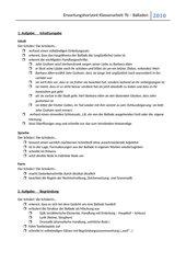 KA Kl.7  und Erwartungshorizont für KA: Inhaltsangabe zur Ballade