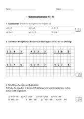 Mathematikarbeit für Förderschule Kl. 6