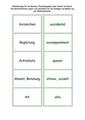 Memo-Spiel / Zuordnungsspiel:  Musikbegriffe Deutsch - Englisch