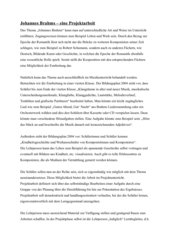 Johannes Brahms - eine Projektarbeit