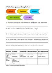 Übung zu den Satzgliedern
