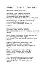 Liedtext zum musikalischem Märchen