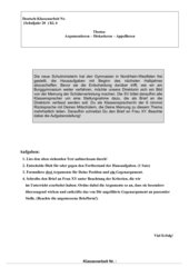 Klassenarbeit Argumentation Klasse 6