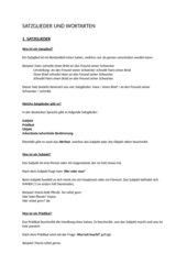 Satzglieder und Wortarten Überblick