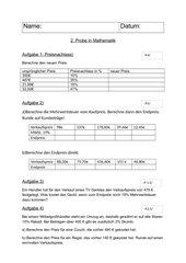 Klassenarbeit 8. Klasse HS: Mehrwertsteuer, Rabatt, verschiedene Diagramme