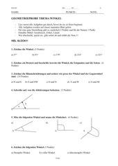 Geometrietest Winkel und Dreiecke