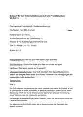 Unterrichtsentwurf zur Einführung der Bezeichnungen für Sportarten