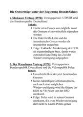 Die Ostverträge unter Brandt/ Scheel