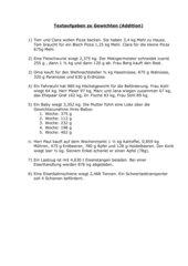 Textaufgaben mit Gewichten (Addition)