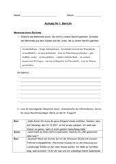 Aufsatz zum Thema Bericht (7. Klasse, HS Niedersachsen)