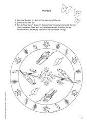 Mandala Frühling: Dompfaff und Kohlmeise