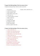 Steigerung von Adjektiven / Write sentences