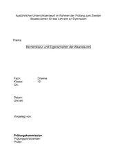 Nomenklatur und Eigenschaften der Alkansäuren