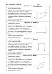 Eigenschaften Vierecke: Parallelogramm, Rechteck, Quadrat, Raute
