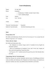 Unterrichtsplanung Adverbiale Bestimmung des Ortes 4. Klasse