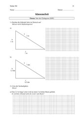 Klassenarbeit Kl. 9 - Satz des Pythagoras - Mit Lösungen