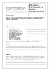 Die richtige Formulierung im Bericht - Wort-Checkliste