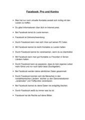Facebook - Pro und Kontra
