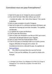Quizz La francophonie nach Tous ensemble 4 L4