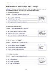 Wortschatz Schule, Aufforderungen, Bitten