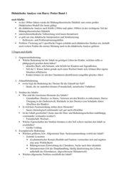 Didaktische Analyse Harry Potter Band 1